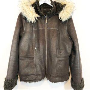 Bernardo brown coat with fur trim size XL